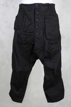 Cropped Drop Crotch Trousers in Black - Rundholz Dip