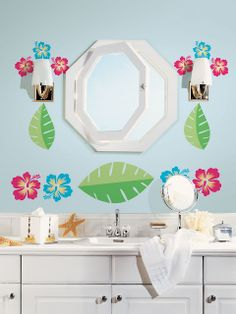 Fun Bathroom Girls Bathroom Idea Bath Hawaiian Flower Blue Colorful Flowery Decal Teen Kids Decoration Decor Inspiration