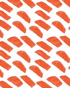80% Off Sale Salmon slices pattern including seamless on white background. Fresh organic salmon vector illustration. (EPS, JPG)