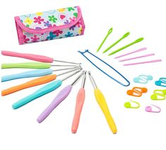 $12.95 8 Aluminum Crochet Hooks Knitting Needles Multi color With Free bag