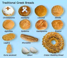 Traditional Greek breads are used to decorate for specific meals or celebrations. Some of these breads are just designed and served as everyday bread due to family traditions. Think Food, Love Food, Greek Bread, Easter Traditions, Family Traditions, Bread Shaping, Greek Easter, Muffins, Greek Cooking