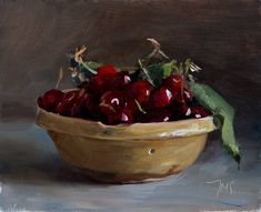 A bowl of cherries painting by Julian Merrow-Smith. Still Life Oil Painting, Academic Art, Fruit Painting, Still Life Art, Fruit Art, Fruit And Veg, Cherry, Food, Provence