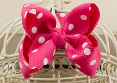 Handcrafted Polka Dot Boutique Bow.  Shocking Pink hair bow with dots.
