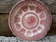 """Spode Red Transferware Turkey Dinner Plate 10 1/2"""" ~ England Festival ~ Pink-Red Turkey Plate ~ English, Red Transferware"""