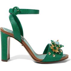 Dolce & Gabbana Embellished lizard-effect leather sandals ($995) ❤ liked on Polyvore featuring shoes, sandals, green, leather ankle strap sandals, high heel sandals, embellished sandals, green shoes and ankle wrap sandals