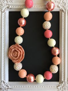 Coral and Ivory bubblegum necklace by LilchicboutiqueLIC on Etsy