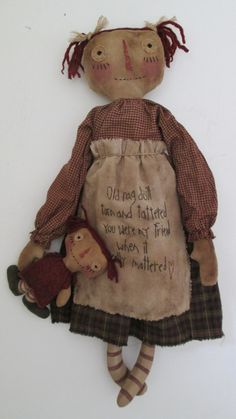 Primitive Raggedy with Dolly by Bettesbabies on Etsy, $58.00