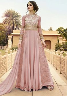 Elegant Rose Pink Anarkali Suit