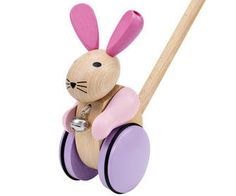 Hop, bunny, hop!  Little pink Emma is the perfect companion for the first steps and loves to be pushed! Then she hops with joy and her bell tinkles...