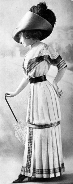 Day wear ensemble with checked trim, 'La Mode' magazine, French, 1910.