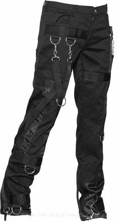 00 Men's girdle pants denim black by Aderlass clothing Black gothic men's pants by Aderlass, with removable straps and metal d-ring detail. Trend Fashion, Dark Fashion, Gothic Fashion, Fashion Outfits, Victorian Fashion, Fashion Fashion, Gothic Pants, Gothic Men, Denim Ideas