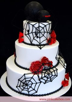 3 Tier 2014 Halloween Cakes with Large Spider Topper Black Spiderwebs - Red roses, red velvet with vanilla buttercream. #2014 #Halloween