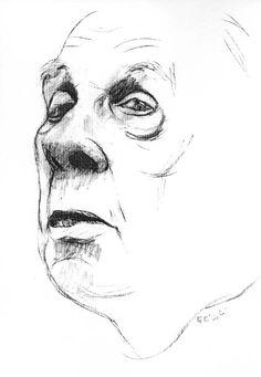 Tullio Pericoli Jorge Luis Borges, 2003 charcoal on paper