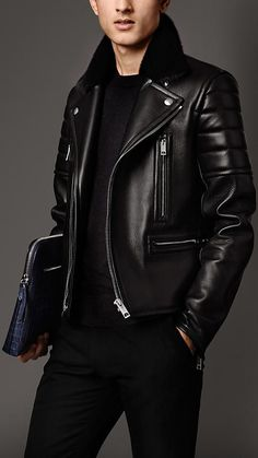 Burberry London Nappa Leather Biker Jacket with Mink Topcollar