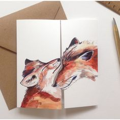 'I Love you' Square Fox Kiss Card