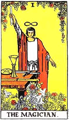 The Magician from the Rider Waite Tarot. Note the figure 8 above the head.