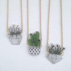 Plant Necklace - Terrarium - Shrink Plastic - Riley Grae Designs - Upcycled Jewlery and Accessories - Handmade