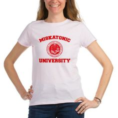 Miskatonic University T-Shirt – Womens - Miskatonic University T-Shirt – Womens –  Miskatonic University  is a parody of the famously fictitious Miskatonic University created by H.P. Lovecraft in early American Horror Fiction.