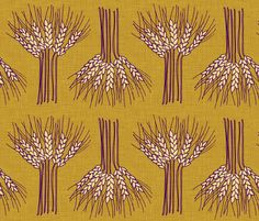 Wheat (in Tobacco) fabric by nouveau_bohemian on Spoonflower - custom fabric