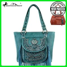 MW197G-8317 Montana West Fringe Collection Concealed Handgun Handbag-Turquoise - Shoulder bags (*Amazon Partner-Link)