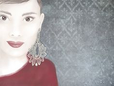 Lace earring by Kirsi Korhonen Lace Earrings, Color Harmony, Vivienne Westwood, Unique Vintage, Vintage Inspired, My Design, Jewelry Making, Illustrations, Inspiration
