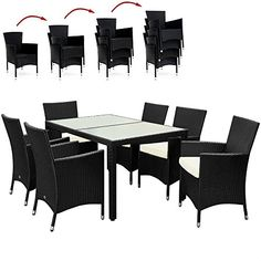 Rattan Garden Furniture Dining Table and Chairs Set - 7pcs 6   1 Outdoor Patio Table and Chairs Set with Rectangular frosted Glass Table Plate