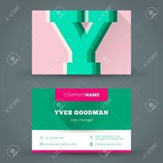 Visitenkarte Design-Vorlage Vektor Hintergrundfarbe Brief Lizenzfrei Nutzbare Vektorgrafiken, Clip Arts, Illustrationen. Image 30640602.