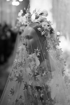 Reem Acra Fall Bridal / The Lane showing a veil with flowers Wedding Veils, Wedding Dresses, Bridal Veils, Wedding Hair, Wedding Garters, Bridal Hair, Wedding Designs, Wedding Styles, Wedding Photos