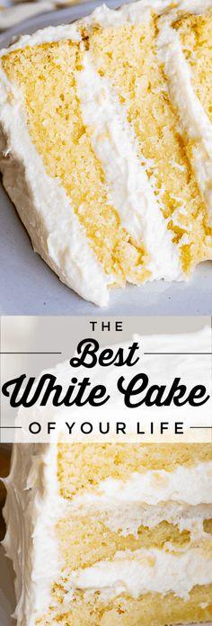 Homemade White Cakes, Homemade Birthday Cakes, Best Birthday Cake, Easy Birthday Cake Recipes, Cake Recipes From Scratch, Best Cake Recipes, White Cake Recipes, Food Cakes, Recipes