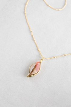 Woodstone Pendant | Blush Petal Wood Necklace Jewelry $16