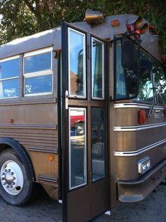 Bi-fold Bus Door Modification--love this idea. looks like both a  RV door AND a home door.