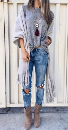 #fall #outfits  women's gray crew-neck shirt and distressed blue denim jeans