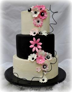 fun pink and black gumpaste flowers.  wedding cake