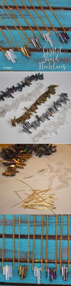 Natural Crystal Shard Necklaces! Natural quartz crystal beads in clear, silver, gold, rainbow and aurora borealis!