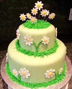Spring daisy flower celebration birthday cake