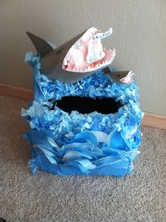 Shark Valentine box, made this for my son! It originally had just the big shark, but he told me the big shark was the daddy and it needed a baby shark.. so I made one! My version of the shark Valentine day box was inspired by other shark Valentine day boxes here on Pinterest! Valentines Day Songs, Valentine Day Boxes, Valentines For Boys, Valentine Day Crafts, Holiday Crafts, Holiday Fun, Fun Crafts, Crafts For Kids, Valentine Ideas