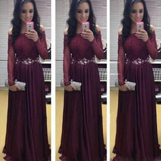 A101 off the shoulder long sleeve belt cheap tulle burgundy dresses, red wine…
