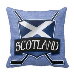 #Scotland Scottish Ice #Hockey Flag Logo Throw Pillows.  These custom made pillows are priced at $29.95. To see this design on a range of other products, please visit my store: www.zazzle.com/gamefacegear*/