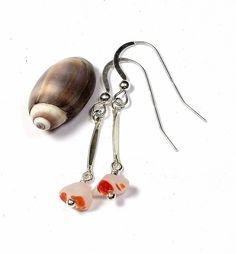 925 Sterling silver with orange-white sea glass dangle earrings dainty, made with love by SeaShards1 on Etsy