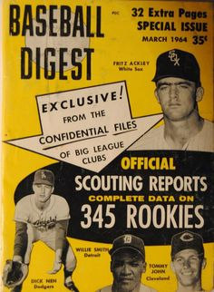 1964 Baseball Digest-Cleveland Indians Tommy John Newstand Edition #