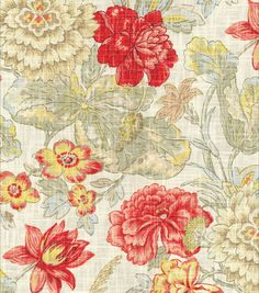 Curtains- Home Decor Print Fabric- Waverly Sonnet Sublime Crimson