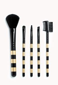 Gold Striped Makeup Brushes // LPF #Christmas Gift Idea for the #Glamour Girl