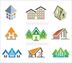 Variety of accommodation logo, used similar design as 3D building in top left, for earlier sketch