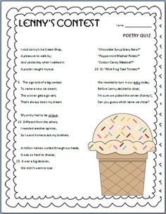 This is a short 10 question multiple choice poetry quiz. The poem, quiz, and answer key are included.  The quiz is designed to assess students' knowledge of poetry. It includes questions about inferencing, point of view, word meaning, multiple meaning words, context clues, various types of poetry forms, and purpose.May be used as practice or assessment!Enjoy!