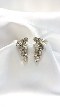 Weiss Earrings Rhinestone Clips Designer by Donellensvintage