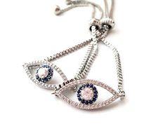 Silver Evil eye bracelet, silver adjustable bracelet, evil eye zirconia bracelet, silver bracelet, zirconia evil eye jewelry, silver nazar