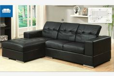 Modern Small Black Leather Sectional Sofa Chaise Roll Back Headrests