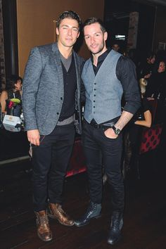 Toronto Maple Leafs Joffrey Lupul and Jonathan Bernier demolishing ovaries at the Joe Fresh Spring 2014 show after party