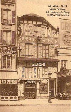 """Paris """"Belle Époque""""postcard, """"Le Chat Noir"""", Caveau artistique, 68, boulevard de Clichy, Paris-Montmartre."""""""