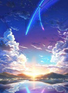 Anime landscape background new 379 best anime scenery wallpaper Film Anime, Anime Art, Sky Anime, Fantasy World, Fantasy Art, Image Swag, Stars Night, The Garden Of Words, Your Name Anime
